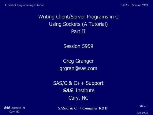 C Socket Programming Tutorial - Writing Client/Server     - Ftp Sas