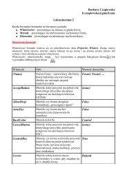 Barbara Czapiewska b.czapiewska@gmail.com Laboratorium 2 ...