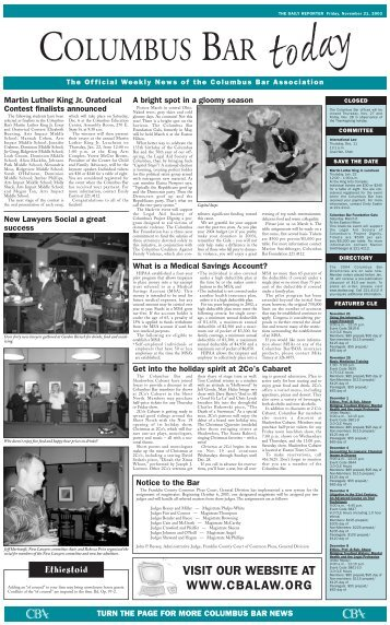 VISIT OUR WEBSITE AT WWW.CBALAW.ORG - The Daily Reporter