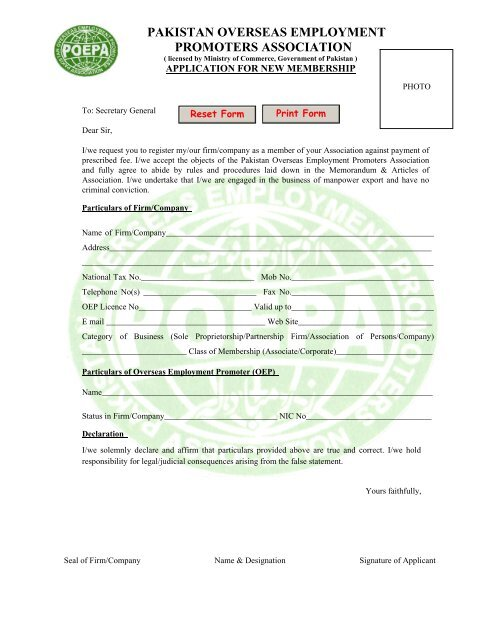 APPLICATION FOR NEW MEMBERSHIP - poepa
