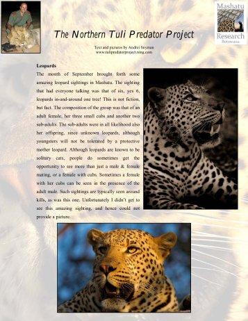 The Northern Tuli Predator Project