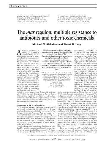 The mar regulon: multiple resistance to antibiotics and other toxic ...