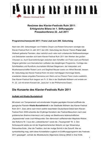 Resümee Klavier-Festival Ruhr 2011 - IOCO