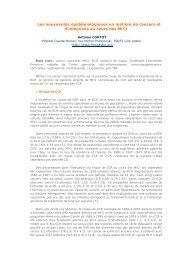 Les nouveautés épidémiologiques en matière de cancers et d ...