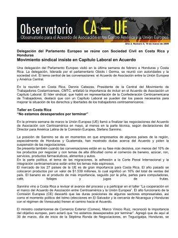Boletin Observatorio CA-UE, año 2, N° 4, 10 de marzo de 2009