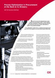 Process Optimization in Procurement at the Beck & Co Brewery - CSC
