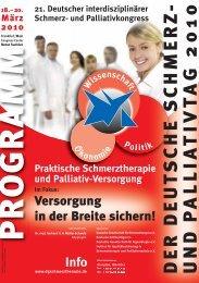 21. Deutscher interdisziplinärer Schmerz- und Palliativkongress