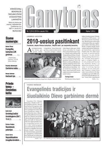 Nr. 1 (314) 2010 m. sausio 16 d. - Krikščionių bendrija TIKĖJIMO ...