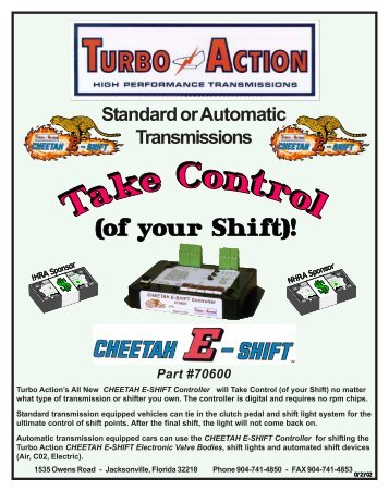 70600 CHEETAH E-SHIFT Controller Now includes ... - Turbo Action