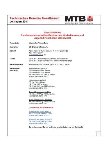 Technisches Komitee Gerätturnen Leitfaden 2011