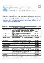 Neue Bücher zum Bereich Bau, Gebäudeklimatik (Stand: April 2013 ...