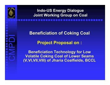 Low Volatile Coking Coal Beneficiation/India - Office of Fossil Energy