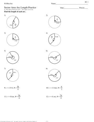 Collection Of Geometry Worksheet Arc Length Sector Area Segment