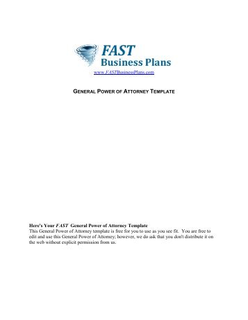 Fastbusinessplans magazines general power of attorney template fast business plans accmission Images
