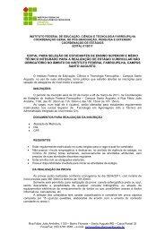 Edital 01/2011 - Seleção para Estágio - Instituto Federal Farroupilha