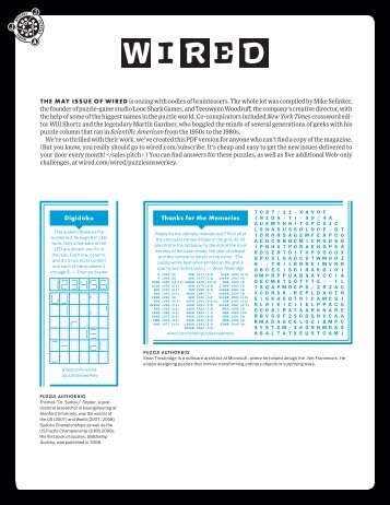 Download a PDF of select puzzles - Wired