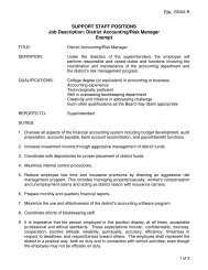 SUPPORT STAFF POSITIONS Job Description: District Accounting ...