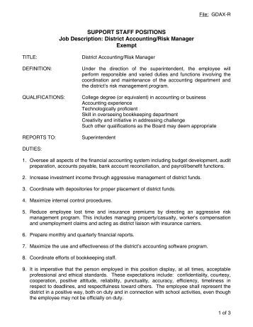 support staff positions job description district accounting