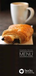 Buckinghamshire New university's hospitality menu