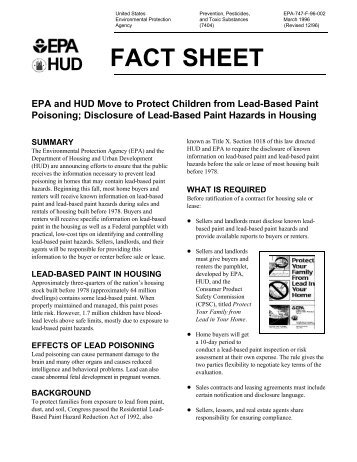 Lead-Based Paint and Lead-Based Paint Hazards Disclosure