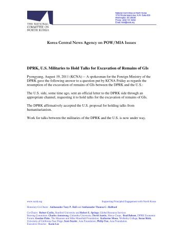 KCNA Statements on Korean War POW/MIA Issues - National ...