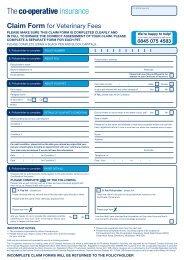 Veterinary fees claim form - The Co-operative Insurance