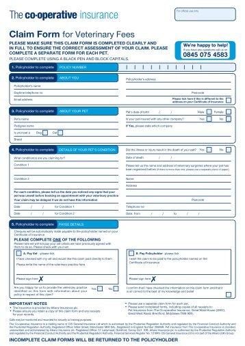 Pet Insurance Veterinary Fee Claim Form - HCF