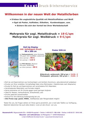 aktuelle Preisliste als PDF - Kunst Druckservice