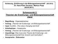 Theorien der Bildungs- und Erziehungswissenschaft II 09. 05. 2012