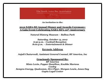 Invitation & RSVP Form for Annual Dinner and - Sabasandiego.org