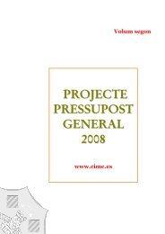 PRoJECTE PREssUPosT GENERAl 2008 - Consell Insular de ...