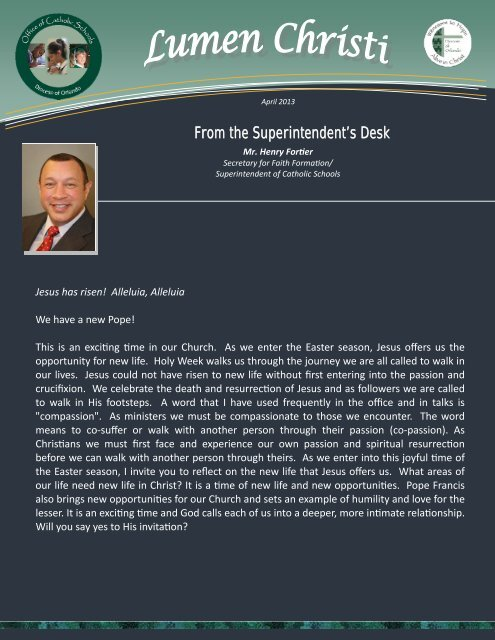 From the Superintendent's Desk From the Superintendent's ... - Igenti