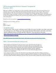 AP Environmental Science Summer Assignment ... - Cannon School