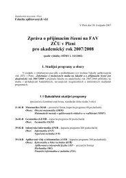 Zpráva o průběhu přijímacího řízení na FAV pro ak. rok 2007/2008
