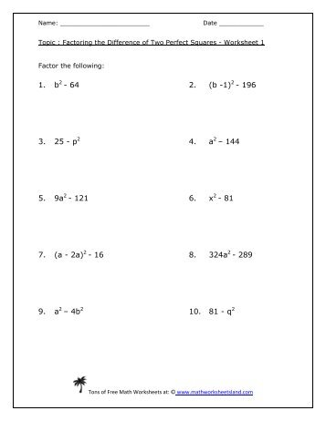 Factoring the Difference of Two Perfect Squares Worksheet Five Pack