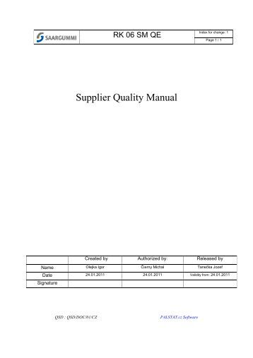 Supplier quality expectation document ti wpl home for Supplier quality manual template