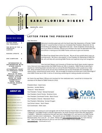 Volume 2, Issue 1 (March 29, 2010) - SABA Florida - South Asian ...
