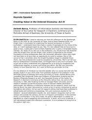 Keynote Speaker Creating Value in the Internet Economy: Act II