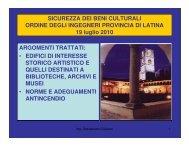 Beni Culturali - Ordine degli Ingegneri della Provincia di Latina