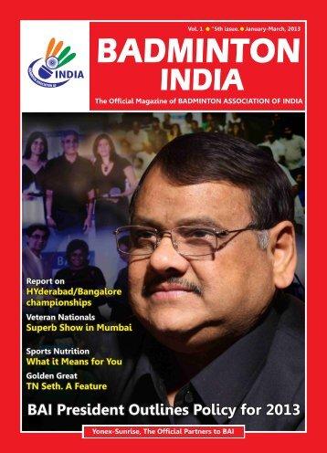 Vol.1 Issue V Jan-Mar 2013 - Badminton Association of India