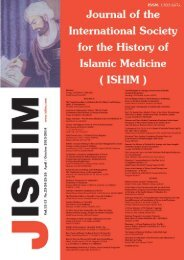Journal of - International Society for the History of Islamic Medicine