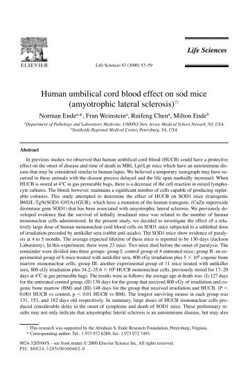 Human umbilical cord blood effect on sod mice - the following ...