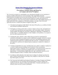 Policy on Prevention of Alcohol Abuse & Drug Use