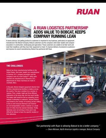 a ruan logistics partnership adds value to bobcat, keeps company ...