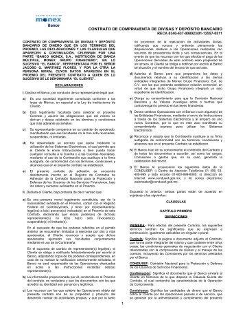 contrato normativo de compraventa de divisas que en los ... - Monex