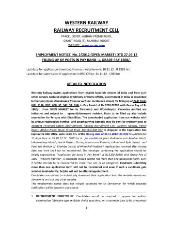 WESTERN RAILWAY RAILWAY RECRUITMENT CELL