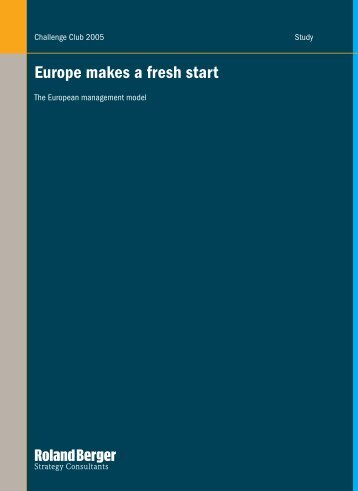 Europe makes a fresh start - Roland Berger Strategy Consultants