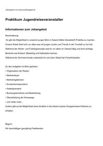 Praktikum Jugendreiseveranstalter Informationen zum Jobangebot