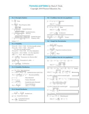 Download triola elementary statistics 11th edition formula card 97 triola elementary statistics pearson fandeluxe Image collections