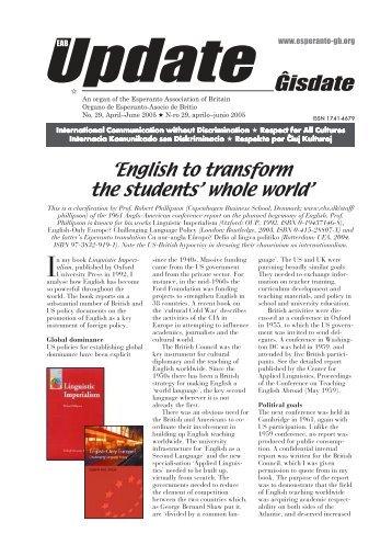 Ĝisdate 29, aprilo-junio 2005 - Esperanto Association of Britain